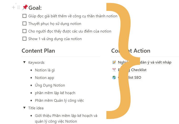 Khu vực lập kết hoạch content